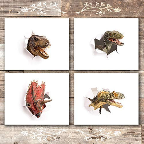 Dinosaur Wall Art Prints (Set of 4) - Unframed - 8x10s | Includes a T-Rex and Velociraptor!
