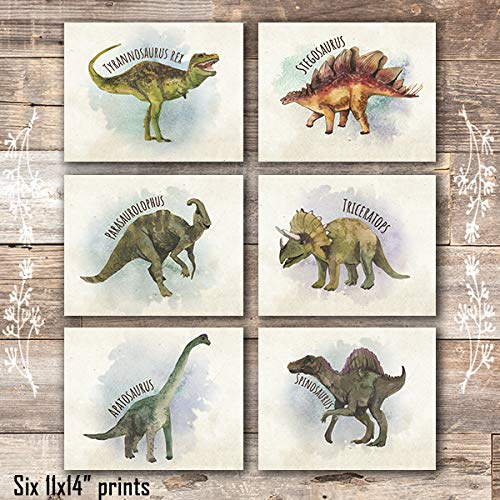 Dinosaur Wall Decor Art Prints (Set of 6) - Unframed - 11x14s - Dream Big Printables
