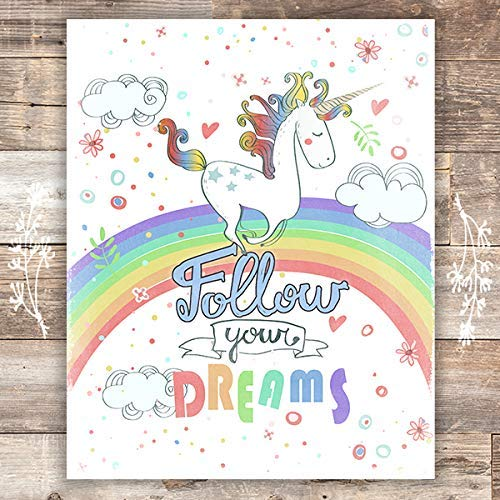 Inspirational Unicorn Wall Decor For Girls Room - Art Print - Unframed - 8x10 - Dream Big Printables