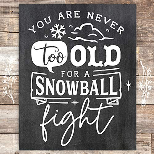 Snowball Chalkboard Christmas Art Print - Unframed - 8x10 - Dream Big Printables