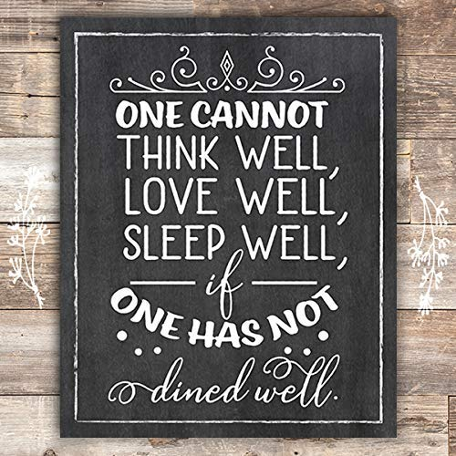 One Must Dine Well - Kitchen Chalkboard Art Print - Unframed - 8x10 - Dream Big Printables