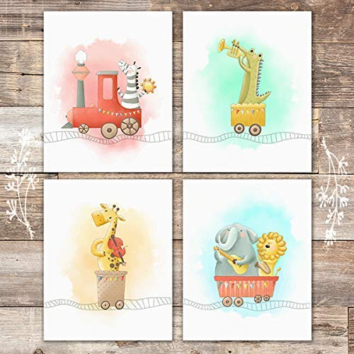 Safari Animals Train Set Art Prints (Set of 4) - Unframed - 8x10s - Dream Big Printables