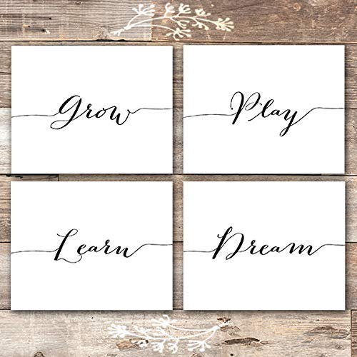 Grow Play Learn Dream Art Prints (Set of 4) - Unframed - 8x10 | Nursery Wall Art - Dream Big Printables