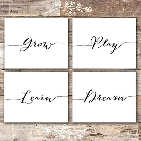 Grow Play Learn Dream Art Prints (Set of 4) - Unframed - 8x10 | Nursery Wall Art