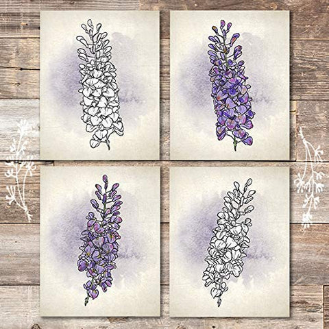 Wisteria Wall Art Prints (Set of 4) - Unframed - 8x10s | Botanical Decor