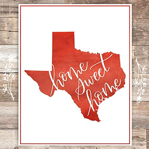 Texas Home Sweet Home Red Art Print - Unframed - 8x10 - Dream Big Printables