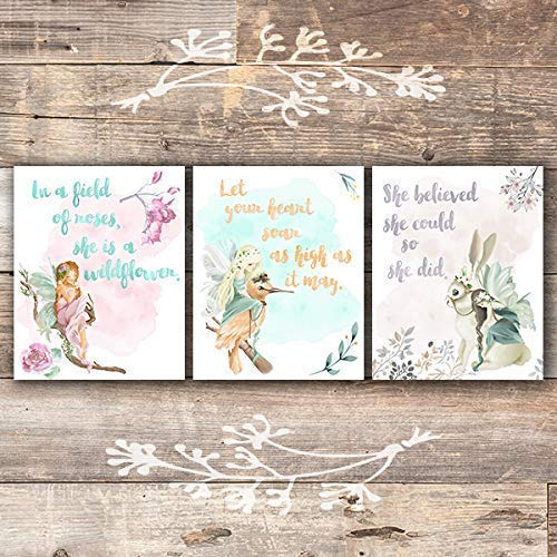 Girls Room Decor Fairy Art Prints (Set of 3) - Unframed - 8x10s | Inspirational Art - Dream Big Printables