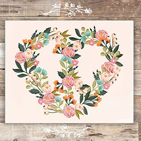 Peace Sign Floral Heart - Unframed - 8x10