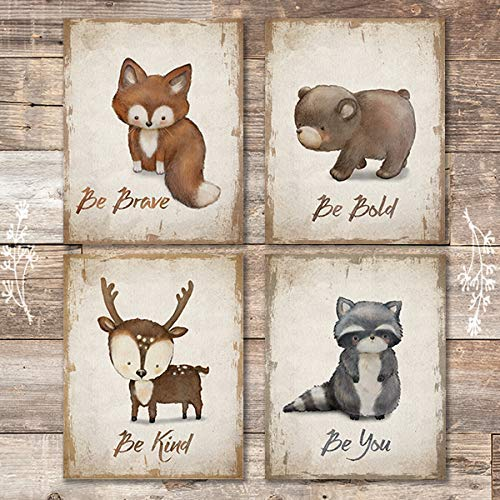 Woodland Animals Inspirational Quote Art Prints (Set of 4) - Unframed - 8x10s - Dream Big Printables