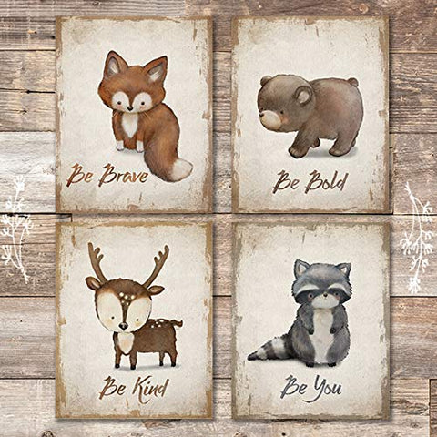 Woodland Animals Inspirational Quote Art Prints (Set of 4) - Unframed - 8x10s