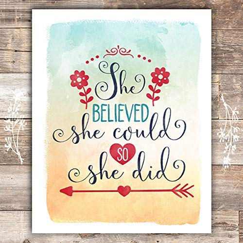 She Believed She Could So She Did Art Print - Unframed - 8x10 - Dream Big Printables