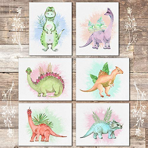 Dinosaur Wall Art Prints (Set of 6) - Unframed - 8x10s - Dream Big Printables