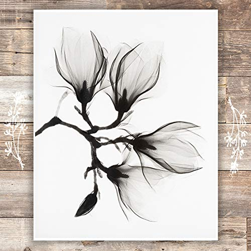 Black and White Magnolia Art Print - Unframed - 8x10 | Botanical Prints Wall Art - Dream Big Printables