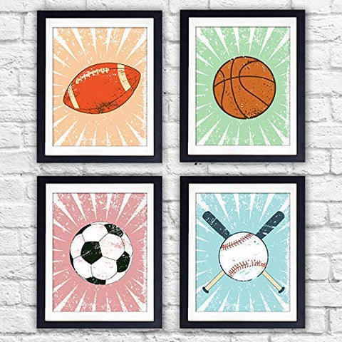 Sports Wall Art Decor Prints (Set of 4) - Unframed - 8x10s | Football, Basketball, Soccer Ball, Baseball - Dream Big Printables
