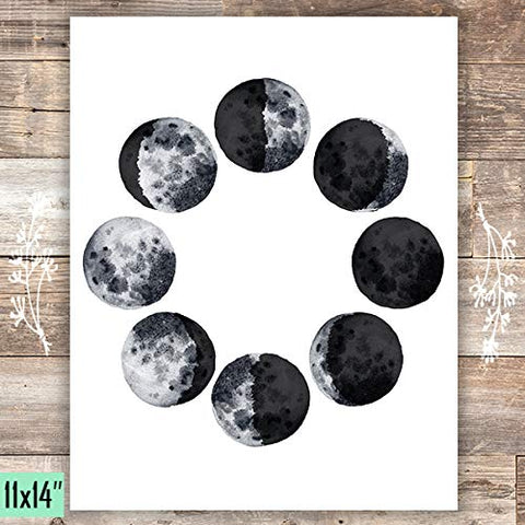 Moon Phases Art Print - Unframed - 11x14