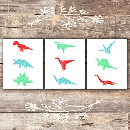 Dinosaur Origami Art Prints (Set of 3) - Unframed - 8x10s - Dream Big Printables