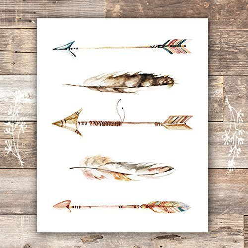 Watercolor Arrows and Feathers Art Print - Unframed - 8x10 - Dream Big Printables