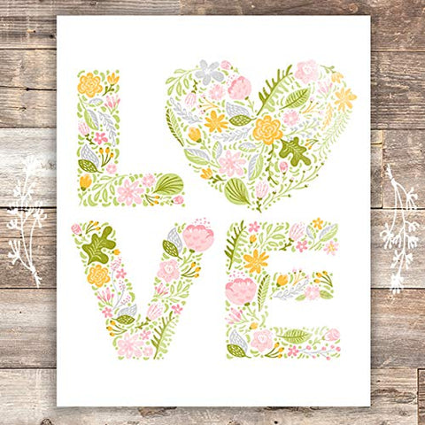 Love Floral Wall Art - Unframed - 8x10 | Inspirational Decor