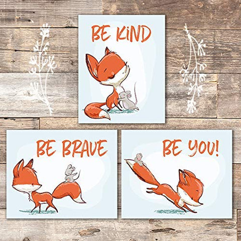 Fox Wall Art Prints (Set of 3) - Unframed - 8x10s | Woodland Nursery Decor