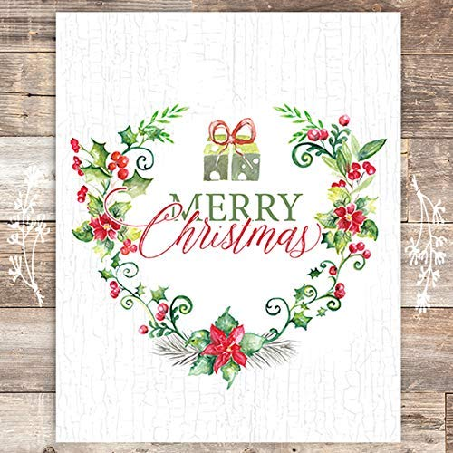 Merry Christmas Watercolor Wreath Art Print - Unframed - 8x10 - Dream Big Printables