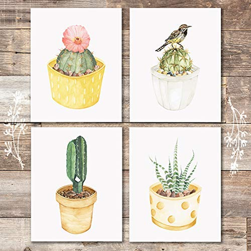 Cactus Wall Decor Art Prints (Set of 4) - Unframed - 8x10s | Botanical Prints - Dream Big Printables