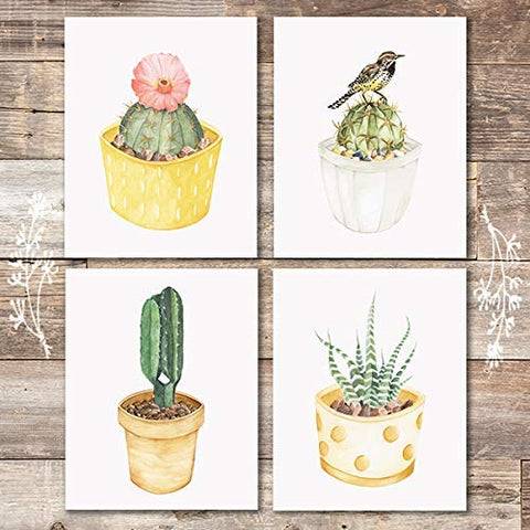 Cactus Wall Decor Art Prints (Set of 4) - Unframed - 8x10s | Botanical Prints