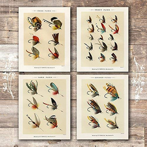 Vintage Fly Fishing Art Prints (Set of 4) - Unframed - 8x10