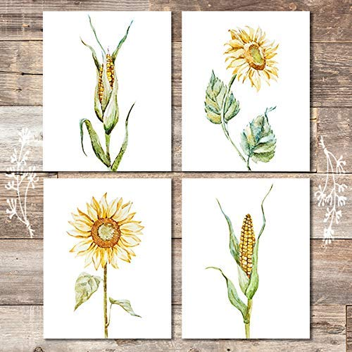 Farmhouse Decor Art Prints (Set of 4) - Unframed - 8x10s | Sunflower and Corn - Dream Big Printables