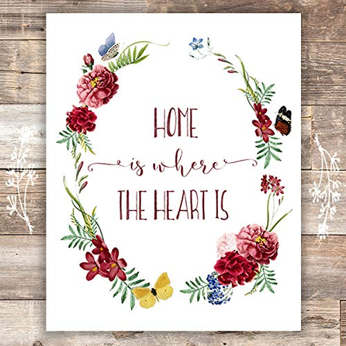 Home is Where the Heart Is Wreath Art Print - Home Wall Decor Unframed - 8x10 - Dream Big Printables