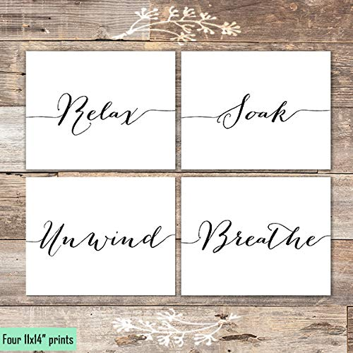 Relax Soak Unwind Breathe Art Prints (Set of 4) - Unframed - 11x14s - Dream Big Printables
