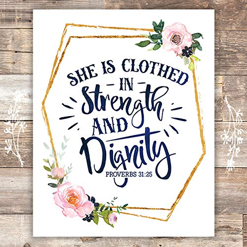 She Is Clothed In Strength And Dignity Floral Art Print - Unframed - 8x10 - Dream Big Printables