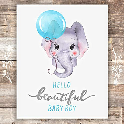 Boys Nursery Decor Art Print - Unframed - 8x10 | Elephant Baby Boy - Dream Big Printables