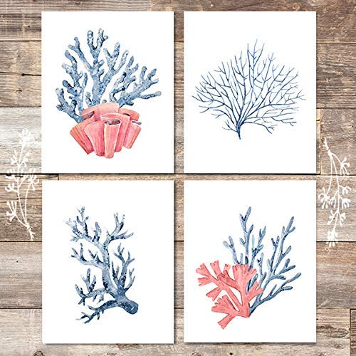 Beach Decor Art Prints (Set of 4) - Unframed - 8x10s | Coral - Dream Big Printables