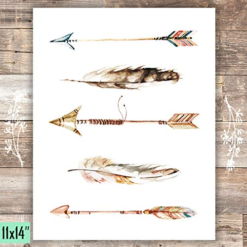 Watercolor Arrows and Feathers Art Print - Unframed - 11x14 - Dream Big Printables