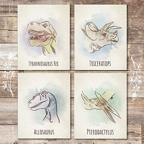 Dinosaur Wall Art Prints (Set of 4) - Unframed - 8x10s - Dream Big Printables