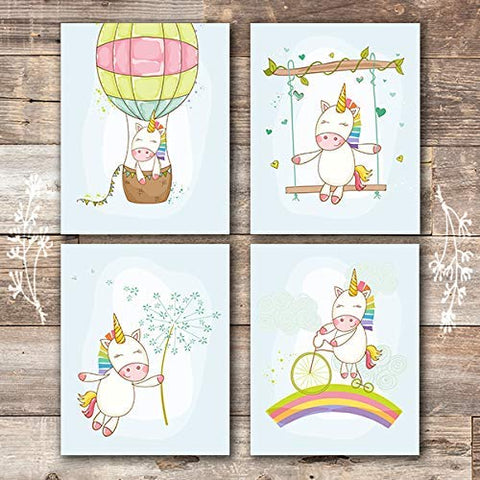Unicorn Wall Decor Art Prints (Set of 4) - Unframed - 8x10s | Girls Room Decor