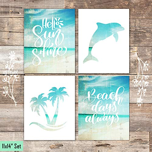 Beach Set Art Prints (Set of 4) - Unframed - 11x14s - Dream Big Printables