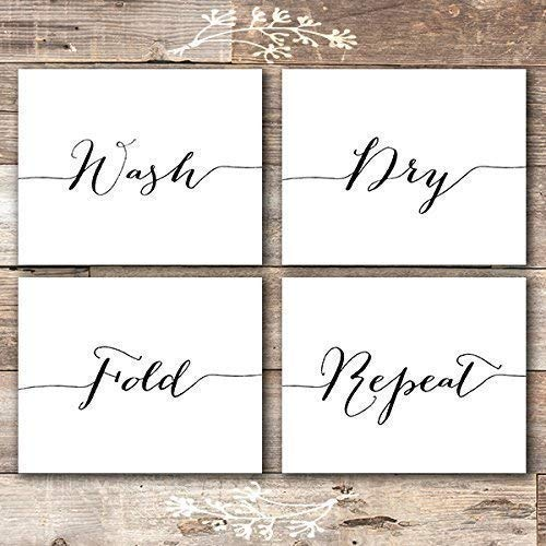 Wash Dry Fold Repeat - Laundry Room Wall Decor Art Prints (Set of 4) - Unframed - 8x10s - Dream Big Printables