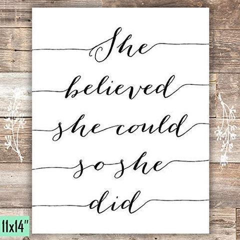 She Believed She Could So She Did Art Print - Unframed - 11x14
