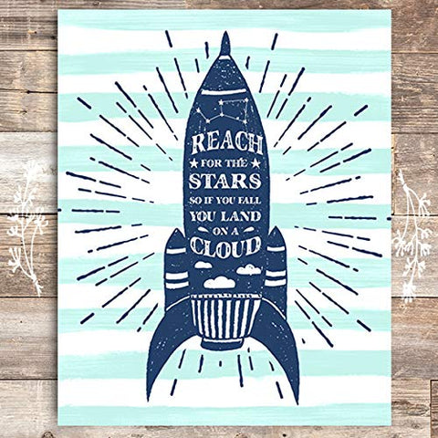 Reach For The Stars Space Ship Art Print - Unframed - 8x10 - Dream Big Printables