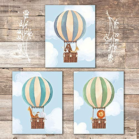 Hot Air Balloon Art Prints (Set of 3) - Unframed - 8x10s | Nursery Wall Decor
