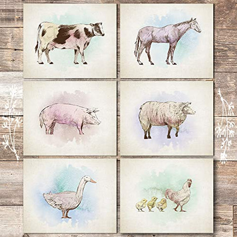 Farm Animals Art Prints (Set of 6) - Unframed - 8x10s (Cow, Horse, Pig, Sheep, Goose, Chicken)