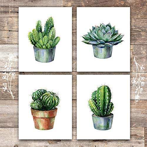 Cactus Decor Art Prints (Set of 4) - Unframed - 8x10s | Botanical Prints - Dream Big Printables