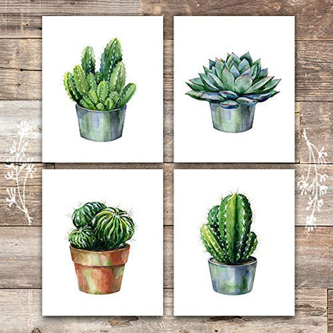 Cactus Decor Art Prints (Set of 4) - Unframed - 8x10s | Botanical Prints
