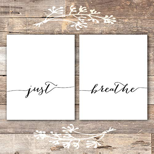 Just Breathe Wall Art Prints - (Set of 2) - Unframed - 8x10 | Inspirational Wall Art - Dream Big Printables