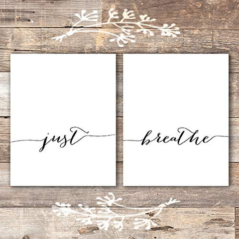 Just Breathe Wall Art Prints - (Set of 2) - Unframed - 8x10 | Inspirational Wall Art