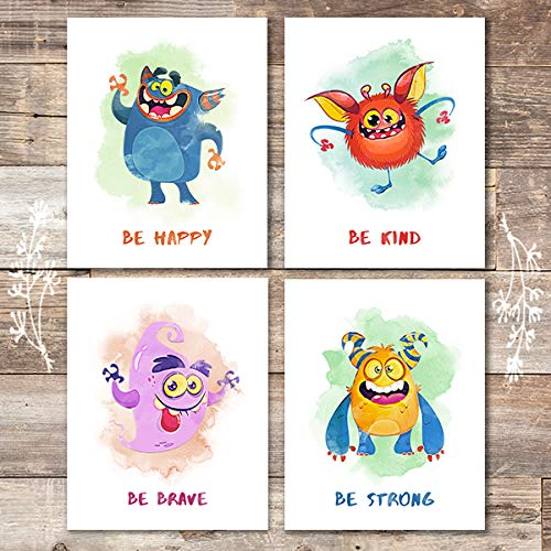 Nursery Monster Art Prints (Set of 4) - Unframed - 8x10s - Dream Big Printables