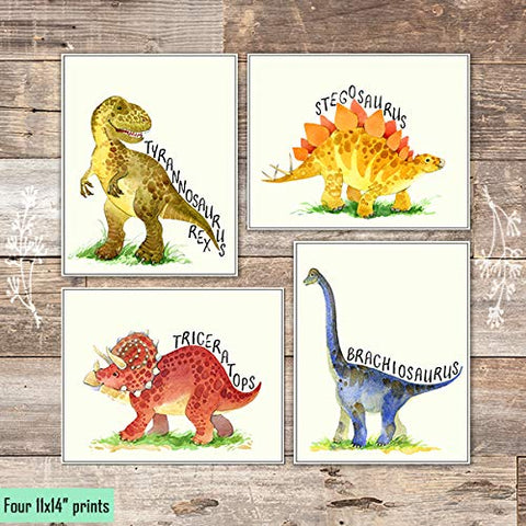 Dinosaur Bedroom Art Prints (Set of 4) - Unframed - 11x14s - Dream Big Printables
