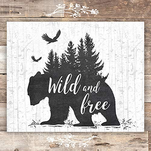 Wild and Free Rustic Bear Art Print - Unframed - 8x10 - Dream Big Printables