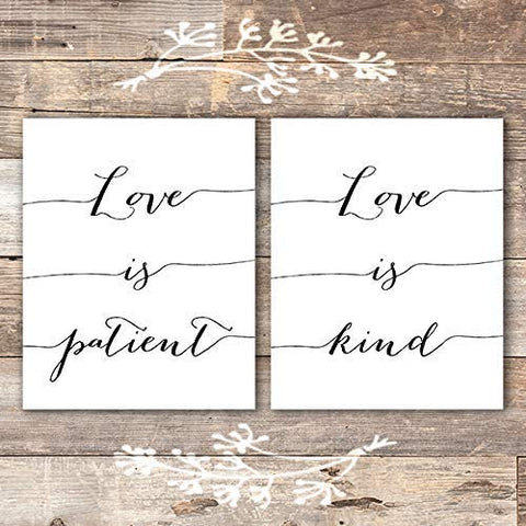 Love Is Patient, Love is Kind Calligraphy Art Prints (Set of 2) - Unframed - 8x10 - Dream Big Printables